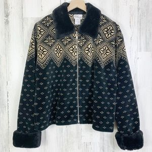 90s Fuzzy Faux Fur Collar Snowflake Zip Up Jacket